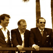Left to right: Christian Moore, Klaus Lovgreen, Sir Roger Moore, Markus Lehner and Geoffrey Moore