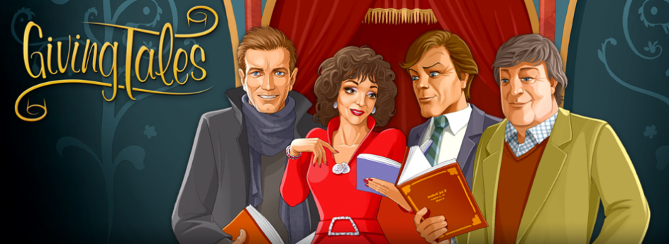 GivingTales readers Ewan McGregor, Dame Joan Collins, Sir Roger Moore and Stephen Fry
